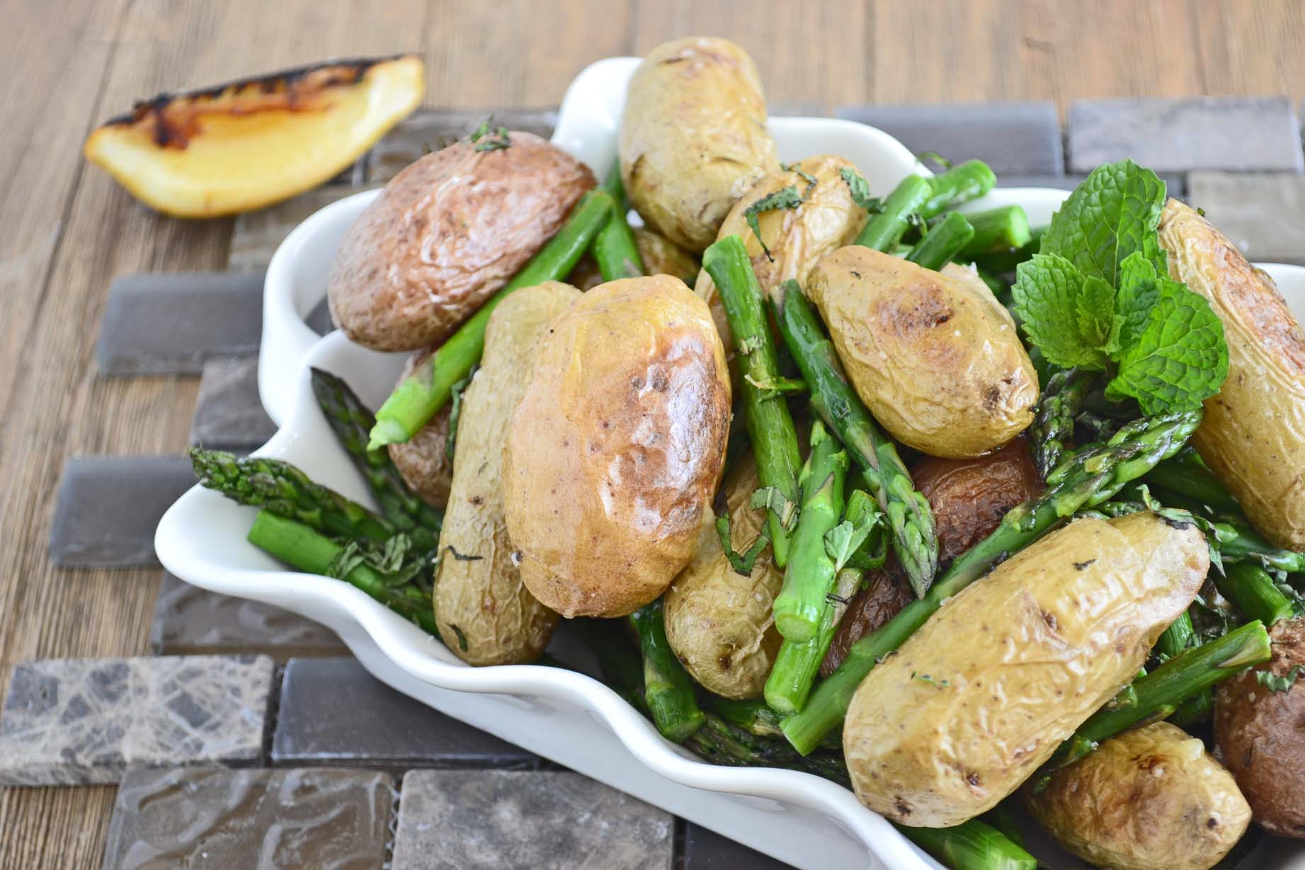 Roasted asparagus and potatoes with lemon and mint