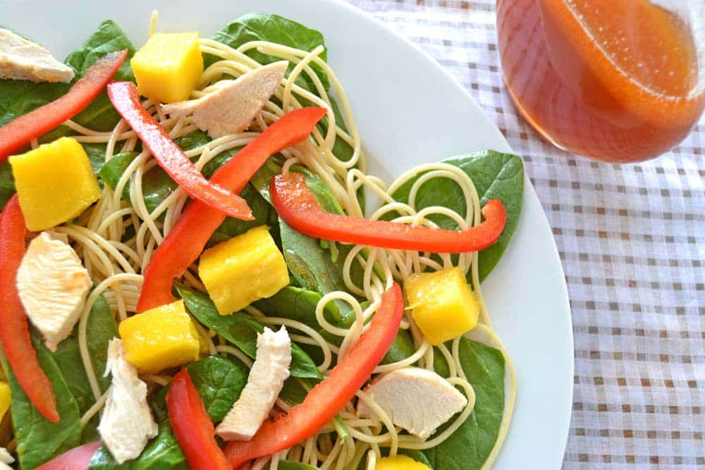 Easy Meals for Dinner: This simple recipe uses leftovers to make Spinach Spaghetti Salad with Mango and Sriracha Dressing