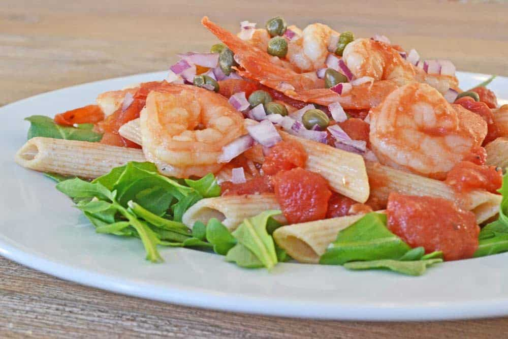 Simple Recipes and Tips for Prepping Dinner on Busy Nights - from COOKtheSTORY.com - Shrimp, Caper, and Red Onion Penne Pasta