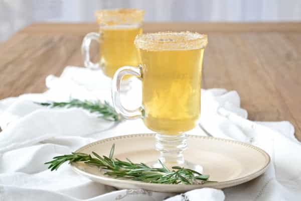 Hot Apple Cider with Whiskey and Rosemary