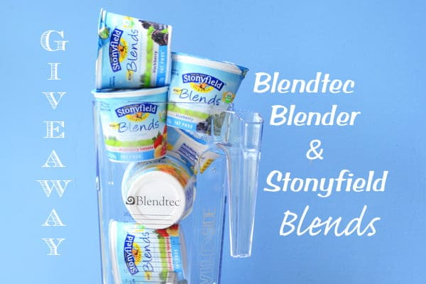 This is a Blendtec Blender and a lot of Stonyfileds Blends Organic Yogurt.