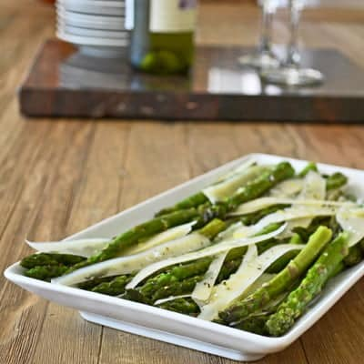 Quick-Roasted Asparagus with Parmesan Slivers is a deliciously simple #sidedish for any weeknight, by www.cookthestory.com
