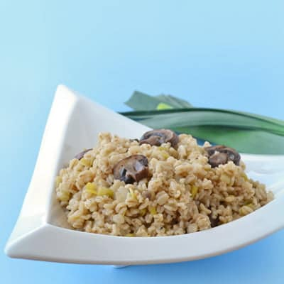 Quick-cooking Barley with Leeks and Mushrooms, an easy but hearty side dish by www.cookthestory.com