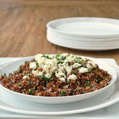 A warm version of Tabbouleh for the winter, an easy #sidedish by www.cookthestory.com