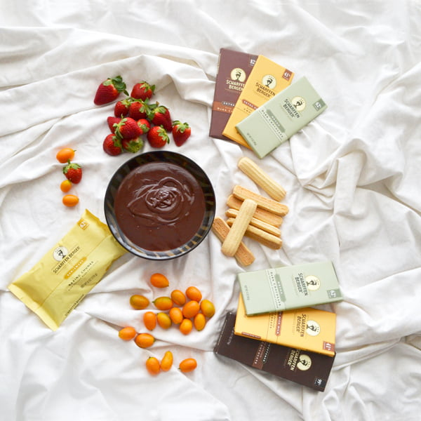A Chocolate Fondue Recipe with Cardamom and Orange Liqueur using Scharffen Berger Chocolate by www.cookthestory.com