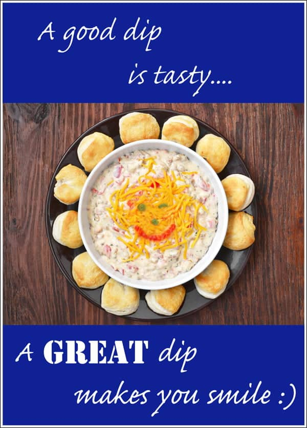 An easy dip recipe for Double Down South Dip - It's an easy cheesy dip made with a combo of pimento cheese and sausage gravy flavors.
