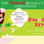 A PinChatLive all about appetizers tonight, Friday April 5th at 9pm Eastern on Pinterest.