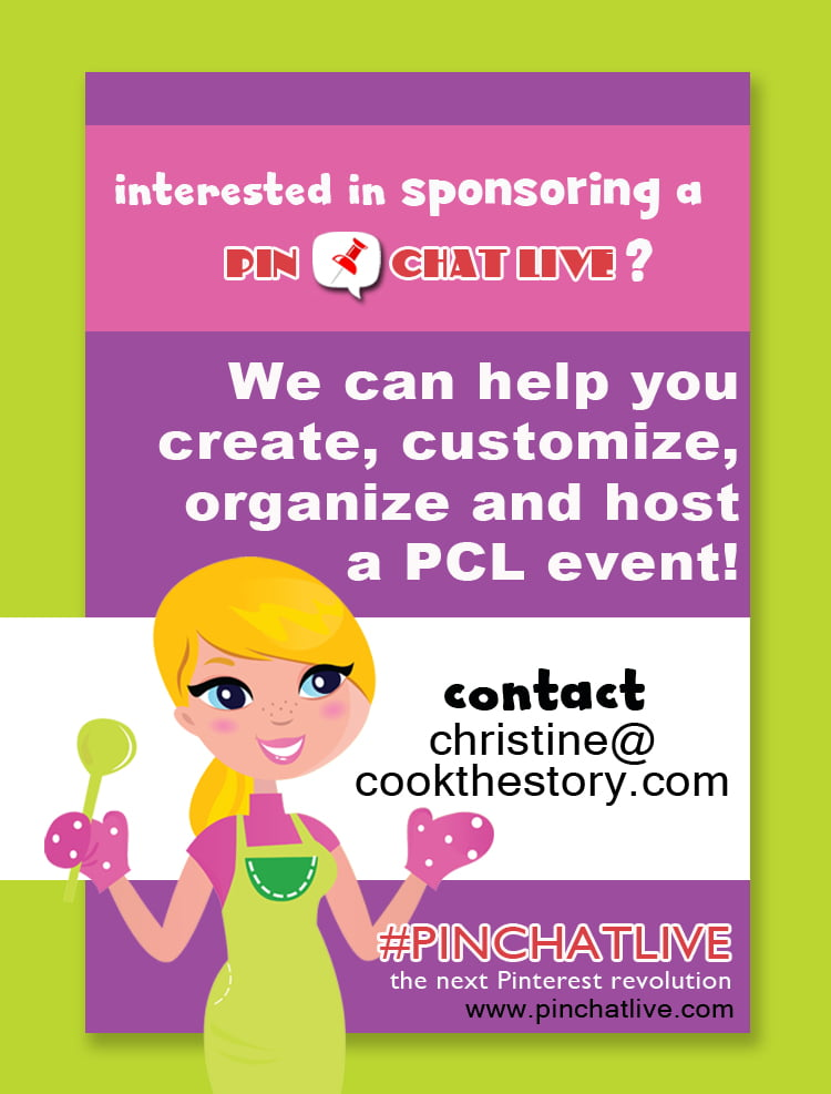 Are you interested in engaging your fans with this fun and interactive PinChatLive format? We can help you do it! Contact christine@cookthestory.com for information and prices.