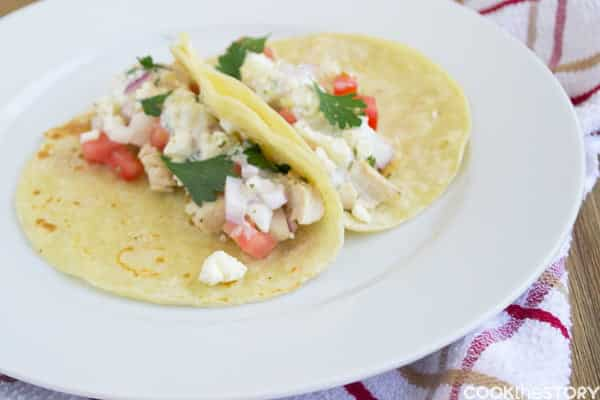 Chicken Souvlaki Tacos with a Quick and Easy Tzatziki Sauce Recipe, from @cookthestory