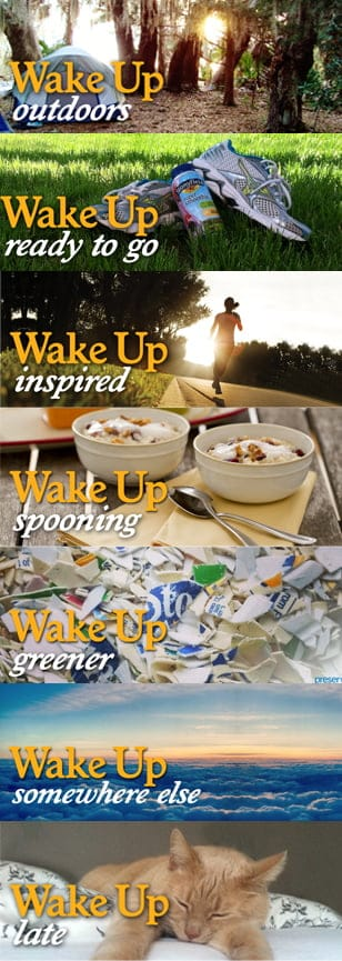 #WakeUpWithStonyfield would love to know how you wake up! Tell us in the comment section of this pin. Head to this site for more wake up fun http://www.stonyfield.com/wakeup/