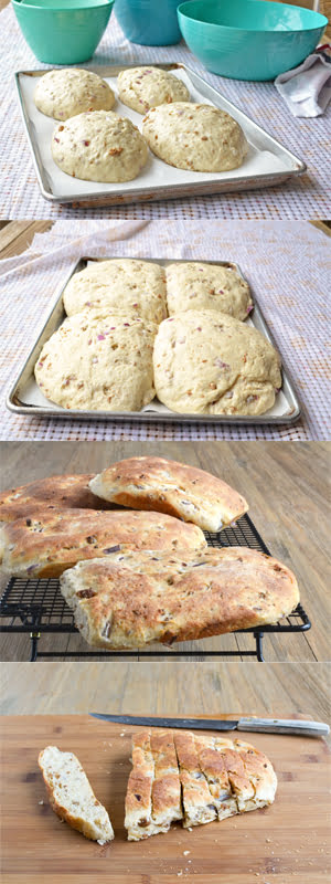 Bangers and Mash Bread (Potato Bread with Crumbled Sausage and Red Onions) - By @cookthestory