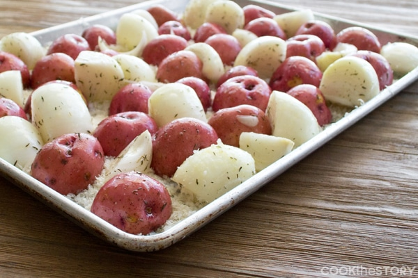 Parmesan Red Potatoes with Vidalia onions and Parmesan cheese ready to go in the oven.