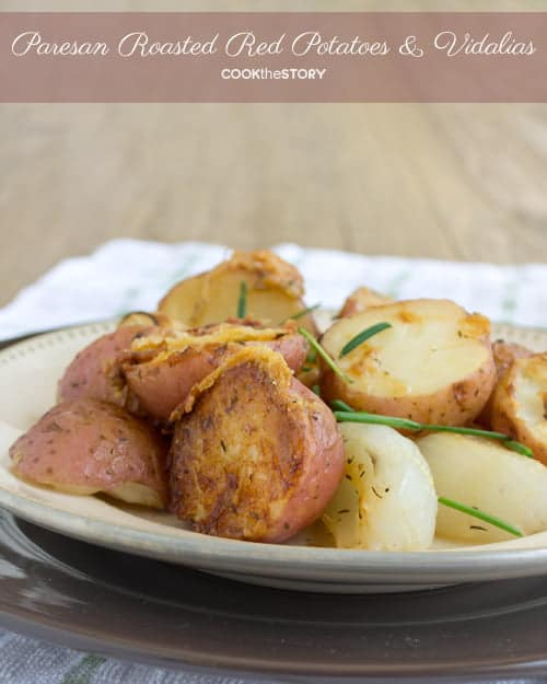 Parmesan Roasted Red Potatoes and Vidalia Onions with Thyme. It's the best potato recipe I've ever made. Try it instead of hashbrowns for brunch. By @cookthestory #BrunchWeek