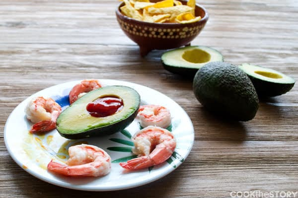 Shrimp Cocktail with Mexican Cocktail Sauce in Avocados by www.cookthestory.com