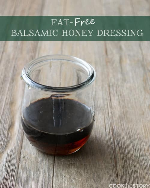 Easy Fat-Free Balsamic-Honey Dressing. Click to get this recipe and one for a delicious strawberry salad to drizzle it over on COOKtheSTORY.com