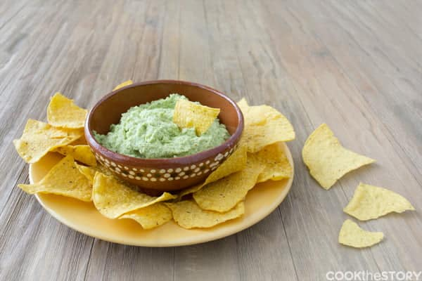 A Guacamole Recipe with Edamame instead of avocados! This Mexican Edamame Dip is lower fat and more protein than guacamole and is perfect for avocado-haters.