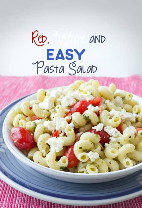 An easy pasta salad recipe with tomatoes, red peppers and queso fresco by www.cookthestory.com