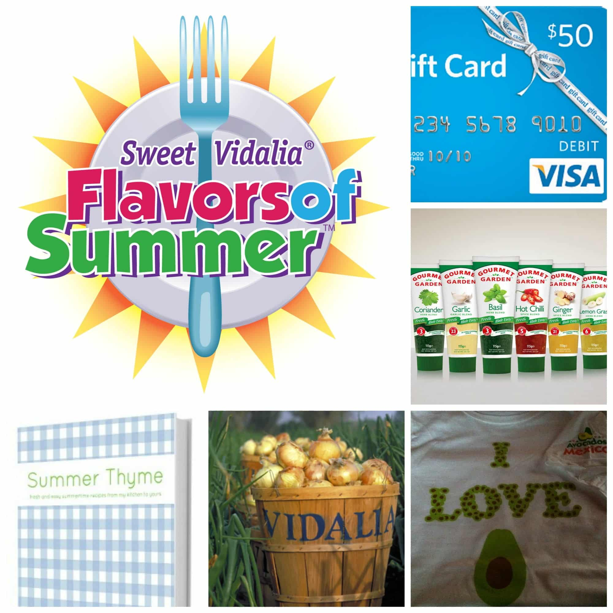 """The Virtual Picnic Prizes: 7 prize packs each containing a $50 Visa Gift Card, , an """"I Love Avocados"""" t-shirt, the newly released cookbook """"Summer Thyme"""" from blogger Jennifer Dempsey, fresh Vidalia onions, and squeezable herbs from Gourmet Garden."""