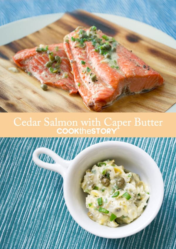 Cedar Grilled Salmon with Caper and Chive Butter by www.cookthestory.com