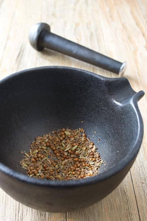 Freshly toasted ground cumin, coriander and fennel seed, destined to be added to a turkey burger recipe.