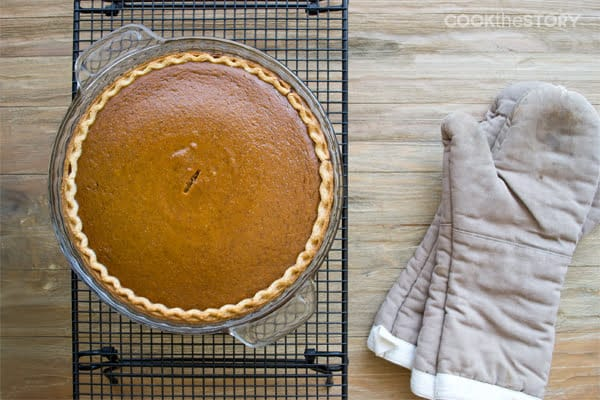 Classic Pumpkin Pie recipe with Bourbon Whipped Cream - Thanksgiving desserts don't get better than this on from COOKtheSTORY.com