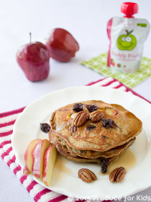 Nutty Apple Pancakes, one of the easy and healthy breakfast recipes from @ProduceForKids