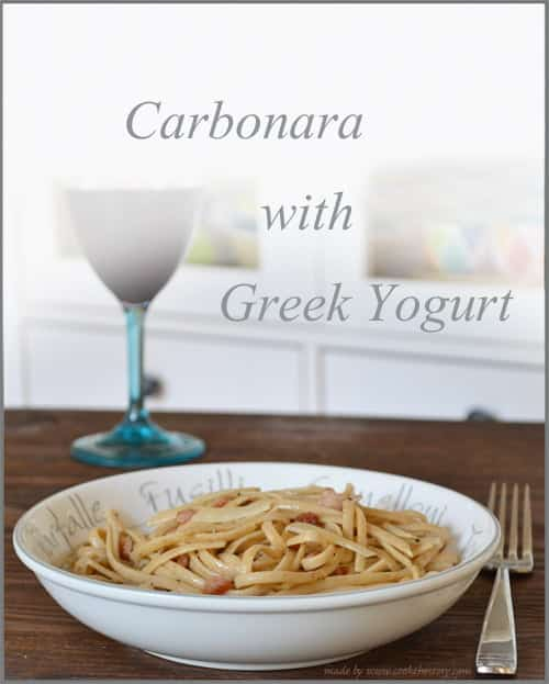 Easy Pasta Carbonara made with Greek Yogurt by www.cookthestory.com