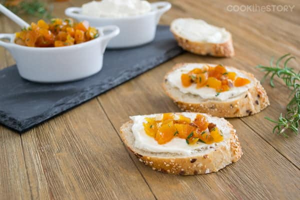 Easy Appetizers for a Crowd: Build Your Own Canapés with Lemon Pepper Cream Cheese and Apricots with Rosemary and Maple.