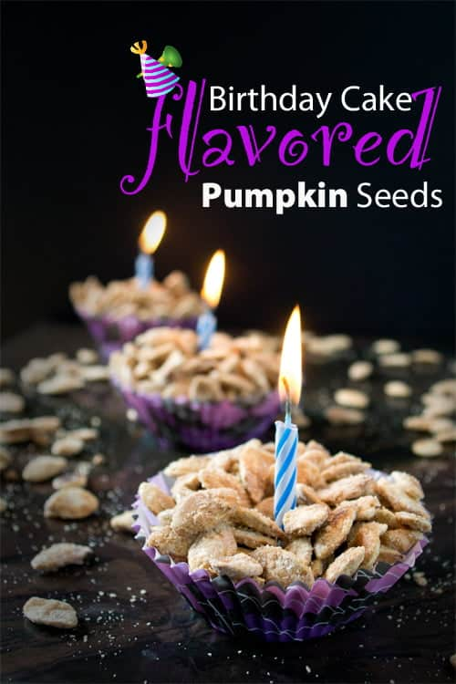 Birthday Cake Flavored Pumpkin Seeds by www.cookthestory.com