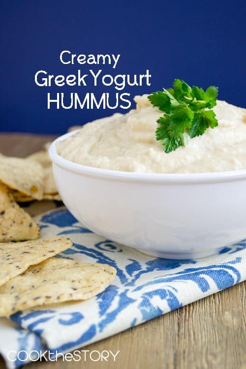 Best Hummus Recipe, made super creamy by the addition of Greek Yogurt