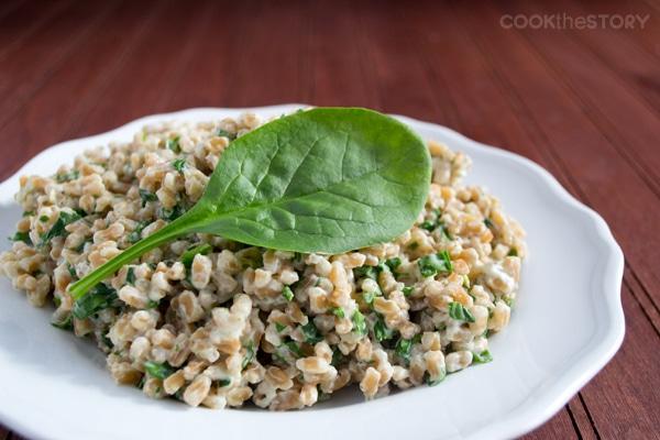 A Farro Recipe with Cream Cheese and Spinach #sidedish #recipe