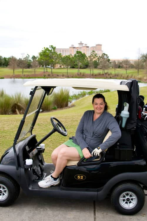 Me at the Rosen Shingle Creek Golf Course with a view of the hotel in background