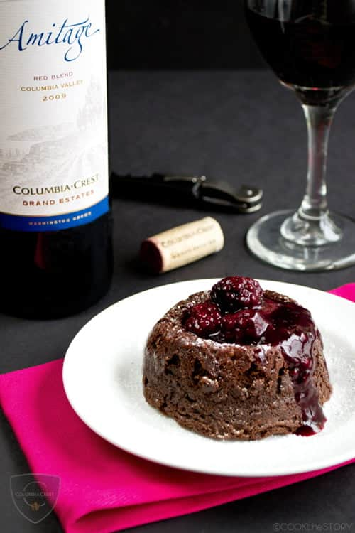 Molten Chocolate Lava Cakes are a restaurant favorite but they're super-easy to make at home. Read on for my easy Molten Chocolate Lava Cake with Wine Sauce Recipe to see just how easy it is. This post is sponsored by Columbia Crest.