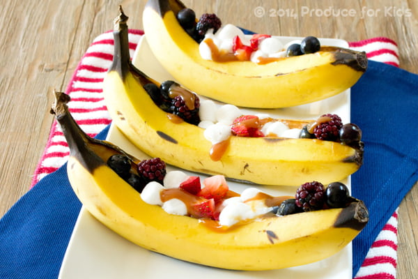Triple Berry Banana Boats