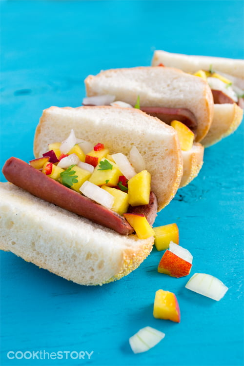 Hot Dog Sliders with Peach and Vidalia Salsa