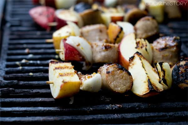 Kebabs with apple and sausage
