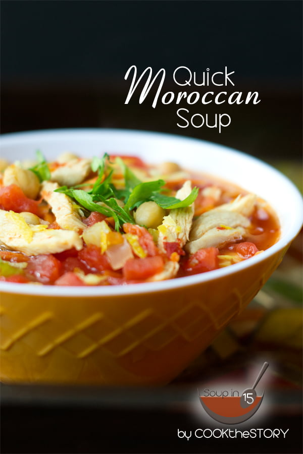 Moroccan Chickpea Soup with Harissa in 15 minutes