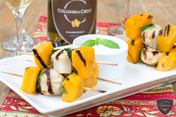 Grilled Scallops, Butternut Squash and Basil Skewers with Garlic Dip. These elegant appetizers are quick and easy to make.