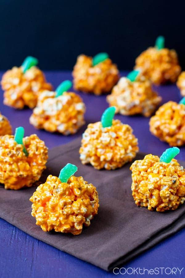 Halloween Pumpkin Popcorn Balls