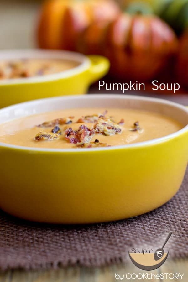 Get this delicious savory Pumpkin Soup Recipe. It's topped with crunchy crumbles made of Parmesan cheese and bacon and is ready in under 15 minutes!