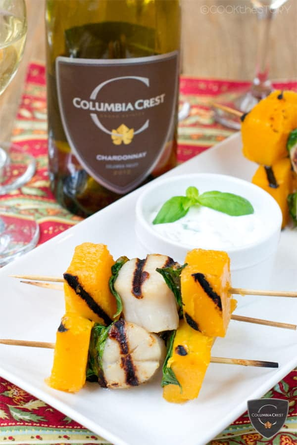 A fall dinner recipes with wine pairings butternut squash and scallop kebabs with basil and a garlic dipping sauce forumfinder Images