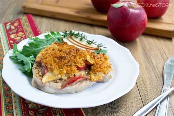 Baked Pork Chops with Apples, Cheddar and Maple