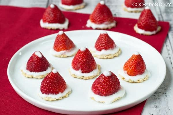 Strawberry Santa Hats, an easy Christmas treat