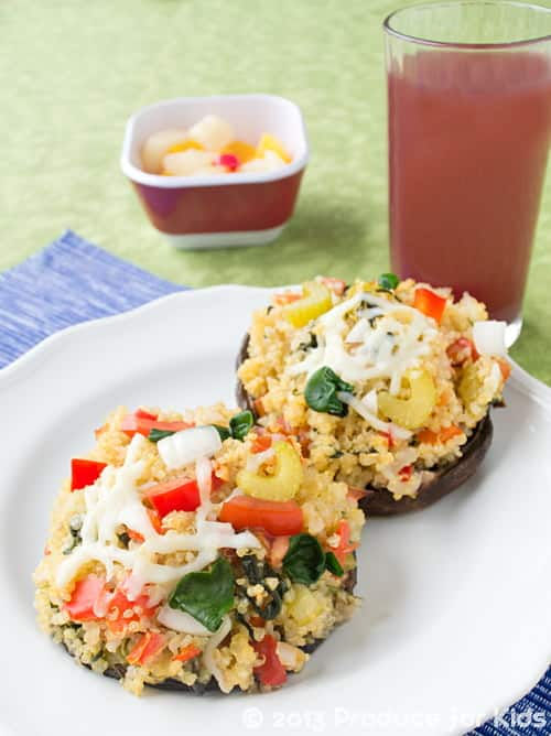 Cheesy Quinoa Stuffed Mushrooms