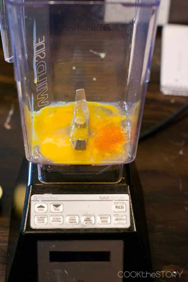 Egg yolks, lemon juice and cayenne in the blender ready to make hollandaise sauce