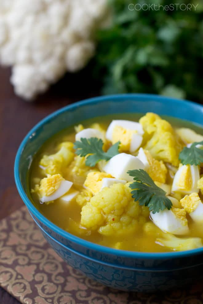 Indian Cauliflower Soup in 15 Minutes. It uses up leftover hard boiled eggs too!