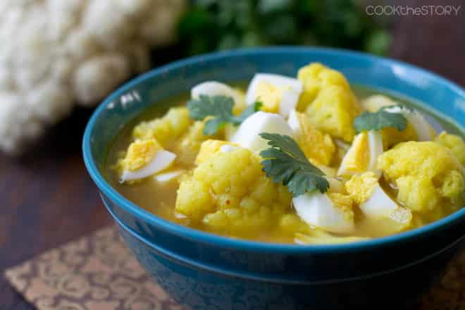 Indian Cauliflower Soup with Hard Boiled Eggs