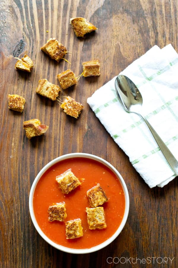 Grilled Cheese and Bacon Croutons with Tomato Soup