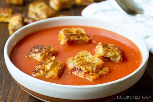 Tomato Soup topped with Bacon Cheese Croutons