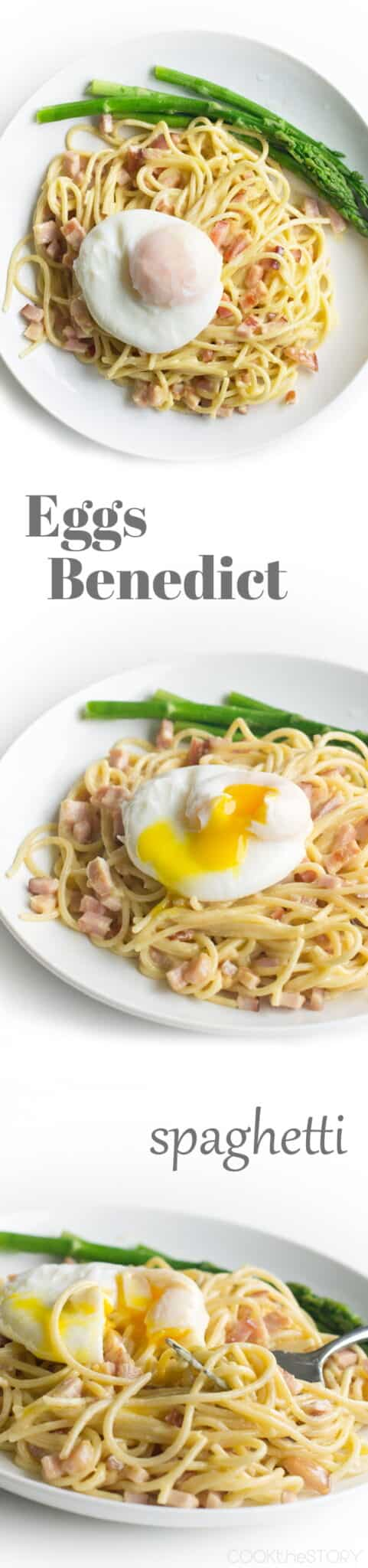 Eggs Benedict Spaghetti: Pasta tossed with hollandaise and fried Canadian bacon and then topped with a poached egg. Yum!